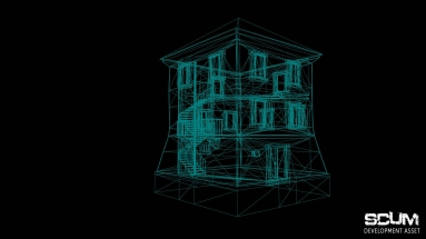 Wireframe mode of the house.